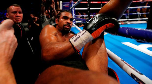 David Haye is knocked through the ropes during his defeat to Tony Bellew. Photo: Andrew Couldridge/Action Images via Reuters