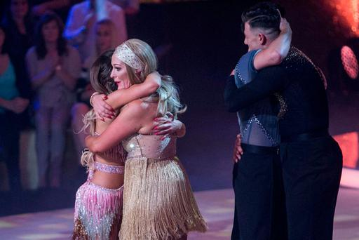 Katherine Lynch is consoled after being voted off the show last night. Photo: Kyran O'Brien