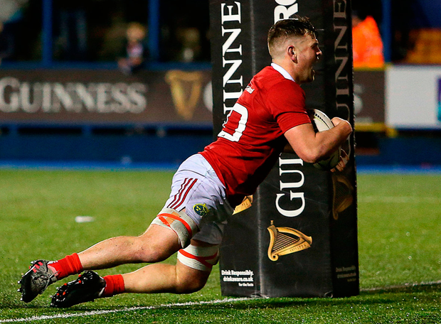 Munster's Conor Oliver scores a try Photo: Darren Griffiths/Sportsfile
