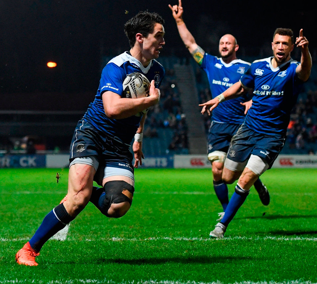Joey Carbery goes over for Leinster's fourth try during their Pro12 clash against Scarlets Photo: Stephen McCarthy/Sportsfile