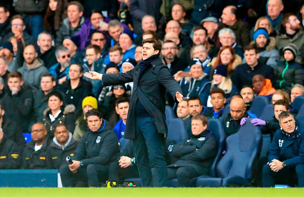 Tottenham Hotspur manager Mauricio Pochettino gestures on the touchline during the match Photo: Adam Davy/PA Wire