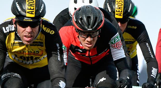 Richie Porte rides in a breakaway during the 148.5km first stage of the Paris-Nice race Photo: PHILIPPE LOPEZ/AFP/Getty Images