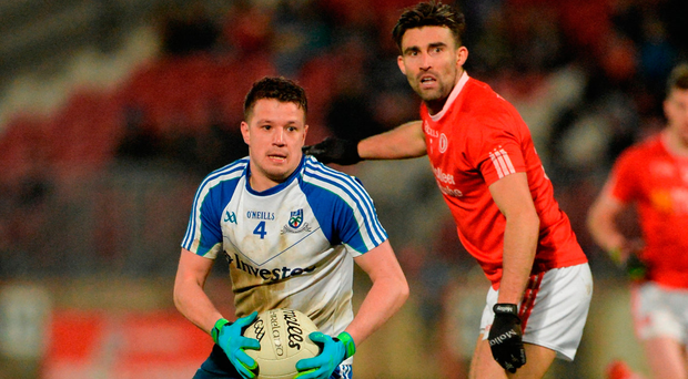 Ryan Wylie of Monaghan in action against Tiernan McCann of Tyrone Photo: Oliver McVeigh/Sportsfile