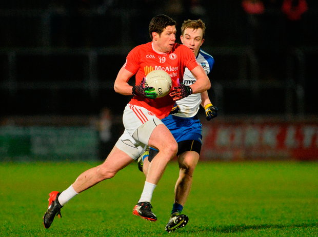 Tyrone's Sean Cavanagh in action against Jack Mc Carron of Monaghan Photo: Oliver McVeigh/Sportsfile