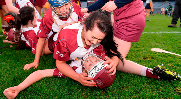 Mary Kelly and Eilís Ní Chaiside of Slaughtneil embrace following their side's victory in the AIB All-Ireland Senior Camogie final Photo: Seb Daly/Sportsfile