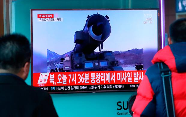 Television news coverage showing archive footage of a North Korean missile launch is broadcast on a public screen in Seoul on March 6, 2017. Nuclear-armed North Korea fired four ballistic missiles east of the peninsula, with Japan saying three of them landed in its waters. Pyongyang fired a ballistic missile last month -- its first such launch since October -- which Seoul said was aimed at testing the response from the new US administration of President Donald Trump. / AFP PHOTO / YONHAP / STR / REPUBLIC OF KOREA OUT NO ARCHIVES RESTRICTED TO SUBSCRIPTION USE STR/AFP/Getty Images