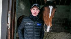 Joseph O'Brien pictured with Cheltenham hopeful Ivanovich Gorbatov in his yard in Kilkenny.