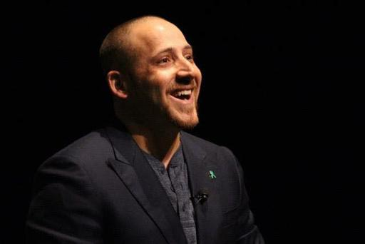 Kevin Hines appears at the Mansion House, Dublin, on Monday March 6. Photo: Facebook/ Living Mentally Well with Kevin Hines