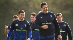 13 February 2017; Luke McGrath, left, and Mike McCarthy of Leinster arrive prior to squad training at Thornfield UCD, in Belfield, Dublin. Photo by Seb Daly/Sportsfile