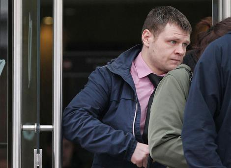 Robert Maguire (34) pictured leaving Dublin Circuit Court this afternoon (Pic Collins Courts)