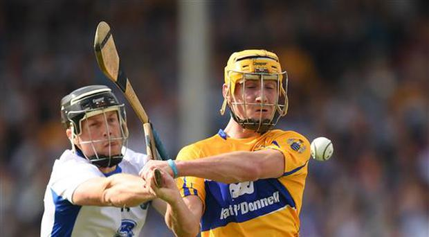 5 June 2016; Colm Galvin of Clare in action against Jake Dillon of Waterford during the Munster GAA Hurling Senior Championship Semi-Final match between Waterford and Clare at Semple Stadium in Thurles, Co. Tipperary. Photo by Stephen McCarthy/Sportsfile