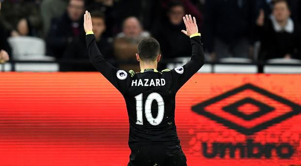 STRATFORD, ENGLAND - MARCH 06: Eden Hazard of Chelsea celebrates after he scores his side first goal during the Premier League match between West Ham United and Chelsea at London Stadium on March 6, 2017 in Stratford, England. (Photo by Darren Walsh/Chelsea FC via Getty Images)