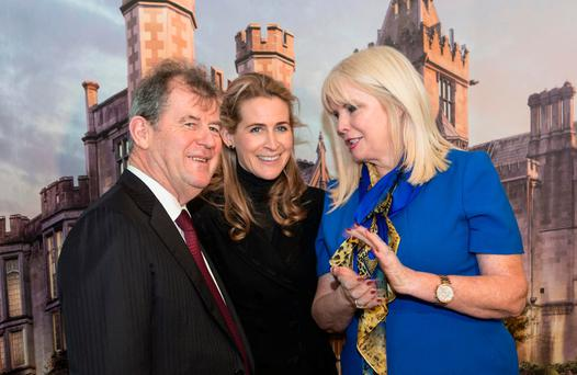 JP McManus and his daughter, Sue Ann Foley, with Jobs Minister Mary Mitchell O'Connor at the relaunch of Adare Manor. Photo: Liam Burke/Press 22