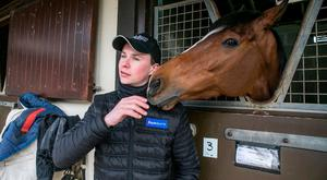 Trainer Joseph O'Brien pictured with Ivanovich Gorbatov in his yard in Kilkenny.