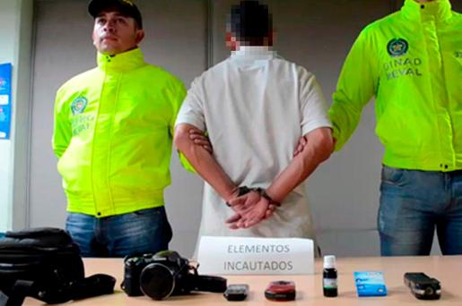 The unnamed suspect paraded by police in Colombia. Picture: Medellin Police