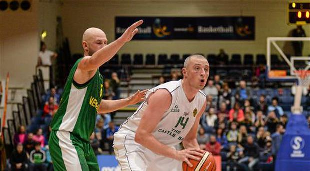 30 January 2016; Kieran Donaghy, St Brendan's Tralee, in action against Andrius Lekavicius, Leixlip Nemunas. Men's Intermediate Basketball Cup Final, St Brendan's Tralee v Leixlip Nemunas, National Basketball Arena, Tallaght, Co. Dublin. Picture credit: Sam Barnes / SPORTSFILE