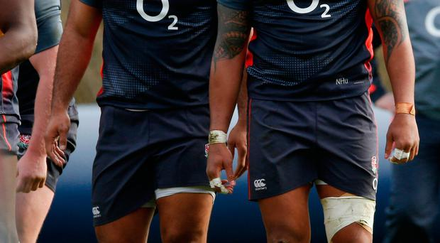 England's Billy Vunipola and Nathan Hughes during training