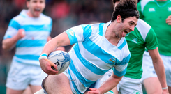 Ross Deegan of Blackrock College goes over to score his side's third try
