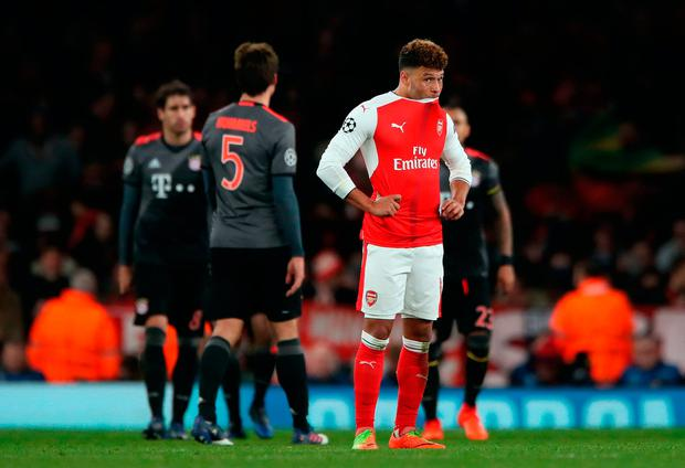 Arsenal's Alex Oxlade-Chamberlain looks dejected