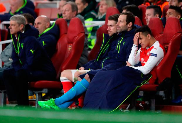 Arsenal's Alexis Sanchez after being substituted