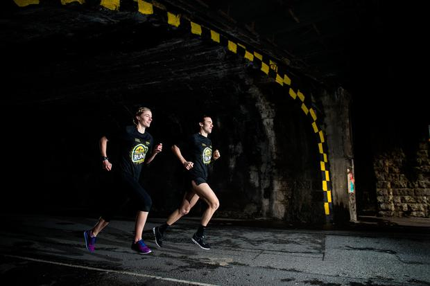 Bryan Keane and Sinead Price of Focus Ireland try out the Dublin Tunnel ahead of the Underground Run on March 26. Pic: ©INPHO/Dan Sheridan