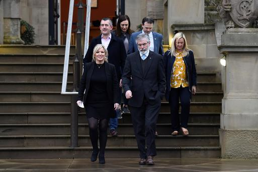 Sinn Fein President Gerry Adams and Sinn Fein leader Michelle O'Neill are pictured outside Stormont Castle in Belfast Photo: Reuters/Clodagh Kilcoyne