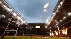 The roof will be closed at the Principality Stadium in Cardiff. GETTY