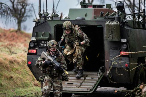 Members of the 55th Infantry Group pictured during training exercises in preparation for the deployment to the Golan Heights. Photo: Mark Condren