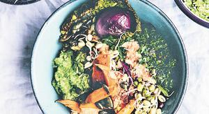 Back to roots bowl from Bowls of Goodness by Nina Olsssem, published by Kyle books