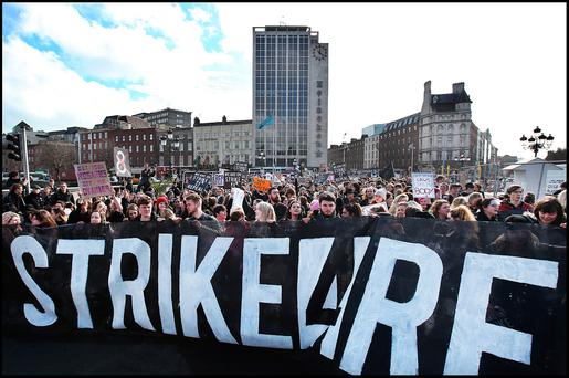 The #Strike4Repeal march in Dublin's city centre. Photo: Steve Humphreys