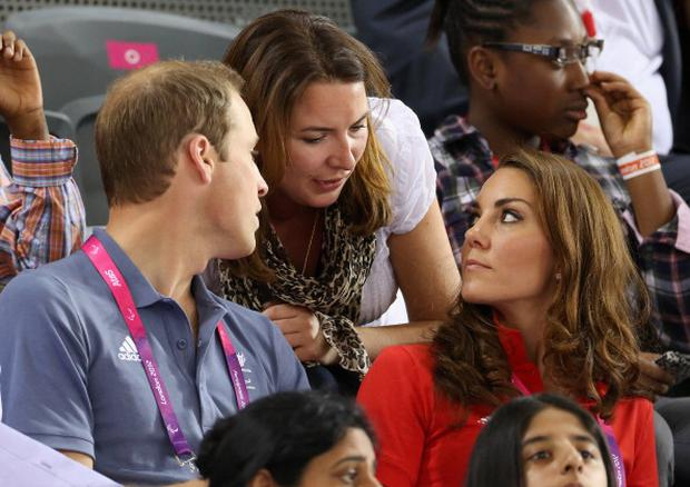 Prince William, Duke of Cambridge and Catherine, Duchess of Cambridge chat to Rebecca Deacon whilst watching the track cycling on day 1 of the London 2012 Paralympic Games at the Velodrome on August 30, 2012 in London, England. (Photo by Chris Jackson/Getty Images)