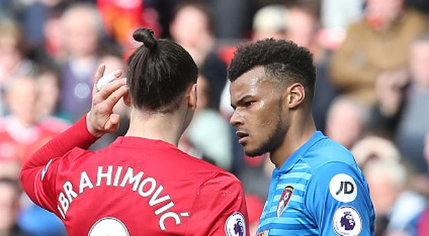 MANCHESTER, ENGLAND - MARCH 04: Zlatan Ibrahimovic of Manchester United clashes with Tyrone Mings of AFC Bournemouth during the Premier League match between Manchester United and AFC Bournemouth at Old Trafford on March 4, 2017 in Manchester, England. (Photo by Matthew Peters/Man Utd via Getty Images)