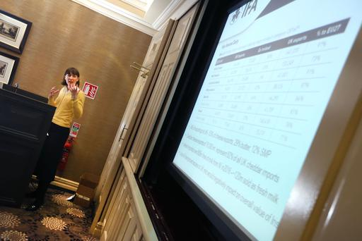 IFA Chief Economist Rowena Dwyer pictured speaking at the launch of the IFA's policy on Brexit. Picture: Finbarr O'Rourke
