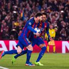 BARCELONA, SPAIN - MARCH 08: Lionel Messi of FC Barcelona celebrates with his teammate Neymar Santos Jr after scored his team's third goal during the UEFA Champions League Round of 16 second leg match between FC Barcelona and Paris Saint-Germain at Camp Nou on March 8, 2017 in Barcelona, Spain. (Photo by Alex Caparros - UEFA/UEFA via Getty Images)