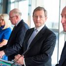Taoiseach Enda Kenny with ministers Mary Mitchell O'Connor, Charlie Flanagan and Shane Ross at the launch of the strategy. Photo: Mark Condren
