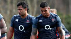 England number 8 options Billy Vunipola (left) and Nathan Hughes in training ahead of Saturday's game against Scotland. Photo: David Rogers/Getty Images