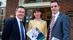 From left, Damien McDonald, director general of the IFA; Rowena Dwyer, IFA chief economist; and Joe Healy, IFA president, at the launch of the farming body's report on the potential impact of Brexit on Irish agriculture, in Dublin yesterday. Photo: Tom Burke