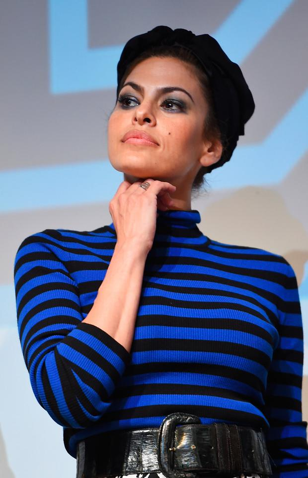Actress Eva Mendes takes part in a Q&A following the