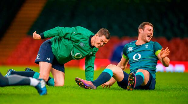 Jonathan Sexton, left, and Robbie Henshaw of Ireland during their captain's run at the Principality Stadium in Cardiff, Wales. Photo by Stephen McCarthy/Sportsfile