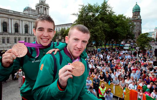 Belfast boys: Michael Conlan (left) and Paddy Barnes in their home town after winning bronzes for Ireland in the 2012 Olympics
