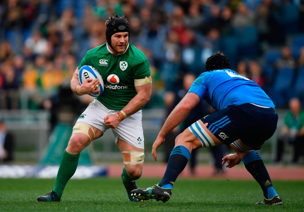 Sean O'Brien on the charge against Italy. Photo by Ramsey Cardy/Sportsfile