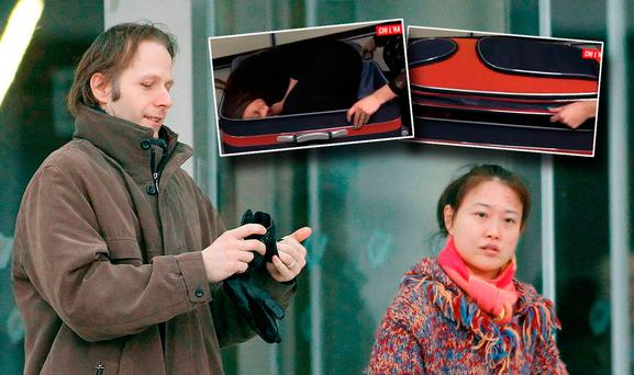 IT consultant Daniel Belling and his wife Xing Lei Li, who vanished during a family cruise in the Med on board the MSC Magnifica. Insert. A reenactment shown on Italian television Picture: Kyran O'Brien