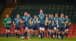 9 March 2017; Devin Toner leads his Ireland team-mates during their captain's run at the Principality Stadium in Cardiff, Wales. Photo by Stephen McCarthy/Sportsfile