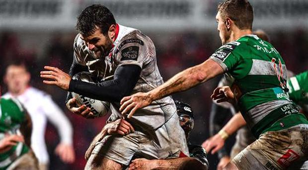 3 March 2017; Jared Payne of Ulster is tackled by Ian McKinley of Benetton Treviso during the Guinness PRO12 Round 17 match between Ulster and Benetton Treviso at the Kingspan Stadium in Belfast. Photo by Ramsey Cardy/Sportsfile