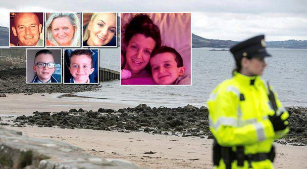The scene at Buncrana, inset from left Sean McGrotty (46), his mother-in-law Ruth Daniels (57) and her 15-year-old daughter Jodie Lee his sons Mark (12) and Evan (8); far right mum Louise with Evan