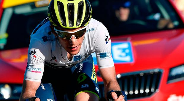 Simon Yates (pictured) had 45 seconds as we hit the final 1.3km climb to the finish. Photo credit: Getty Images