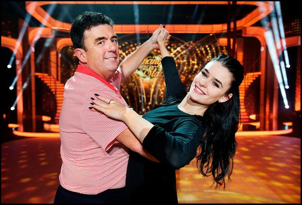 Des Cahill and dance partner Karen Byrne rehearsing on the set of 'Dancing with the Stars'. Photo: Steve Humphreys