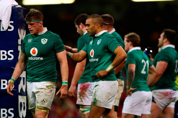 Jamie Heaslip (L) and Simon Zebo of Ireland look dejected during the Six Nations match between Wales and Ireland at the Principality Stadium