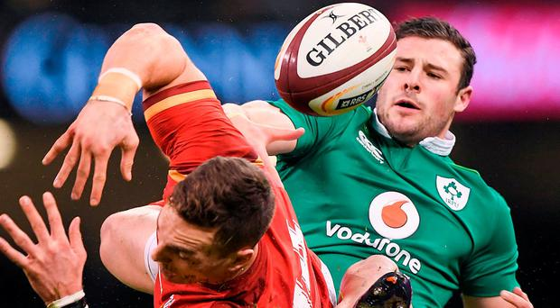 Wales' George North and Ireland's Robbie Henshaw collide in Cardiff. Photo: Brendan Moran/Sportsfile