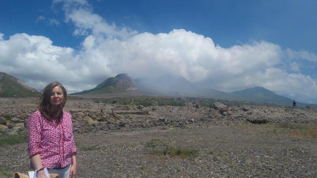 Mary visits the lava landscape